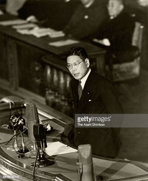 Finance Minister Hayato Ikeda addresses the financial policy at the lower house of the diet on November 15 1949 in Tokyo Japan Hayato Ikeda was three...
