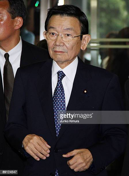Finance Minister Kaoru Yosano arrives at the Liberal Democratic Party headquaters for the party's lawmakers' meeting on July 21 2009 in Tokyo Japan...