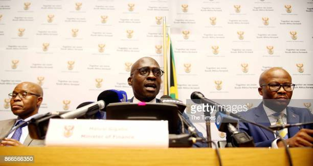 Finance Minister Malusi Gigaba addresses the media before his Mediumterm budget speech in Parliament on October 25 2017 in Cape Town South Africa...