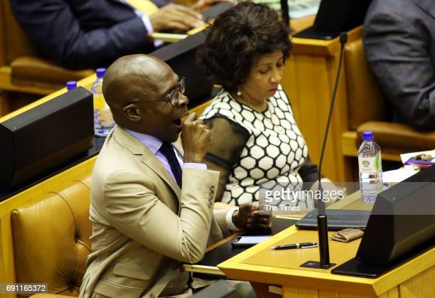 Finance Minister Malusi Gigaba and Human Settlements Minister Lindiwe Sisulu during the Presidency budget vote in the National Assembly on May 31,...