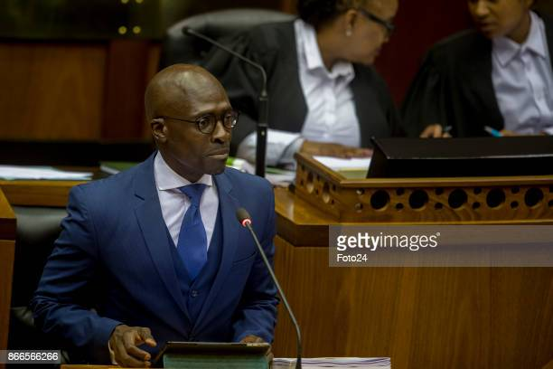Finance Minister Malusi Gigaba delivers his Mediumterm budget speech in Parliament on October 25 2017 in Cape Town South Africa During his speech...