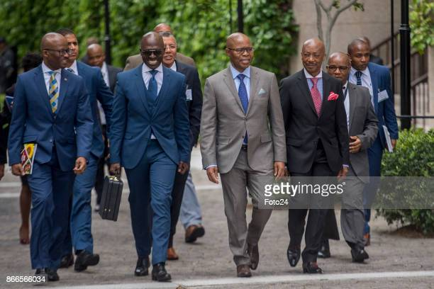 Finance Minister Malusi Gigaba is flanked on his right by treasury directorgeneral Dondo Mogajane and on his left by his deputy Sfiso Buthelezi and...