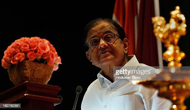Finance minister P Chidambaram during the Investiture Ceremony 2013 Of Central Board Of Excise And Customs at Manekshaw centre on February 5, 2013 in...