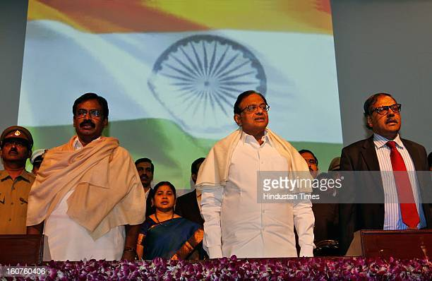 Finance minister P Chidambaram , MOS Finance minister SS Palanimanickam and Revenue Secretary Sumit Bose during the Investiture Ceremony 2013 Of...