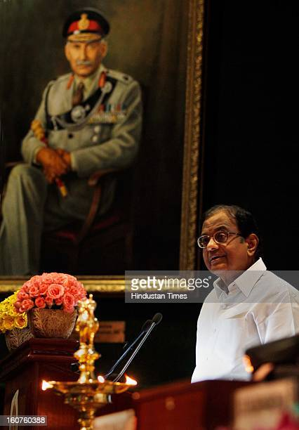 Finance minister P Chidambaram speeks during the Investiture Ceremony 2013 Of Central Board Of Excise And Customs at Manekshaw centre on February 5,...