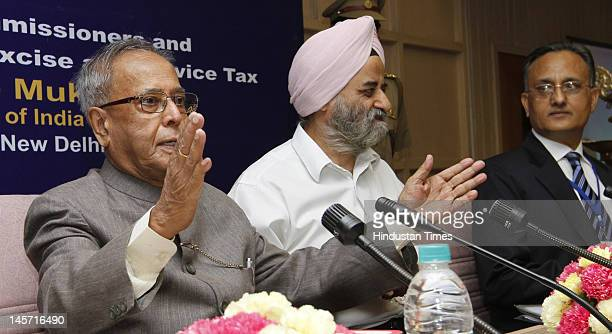 Finance Minister Pranab Mukherjee, R.S. Gujral Finance Secretary, S.K. Goel Chairman Central Board of Excise and Customs at the All India conference...