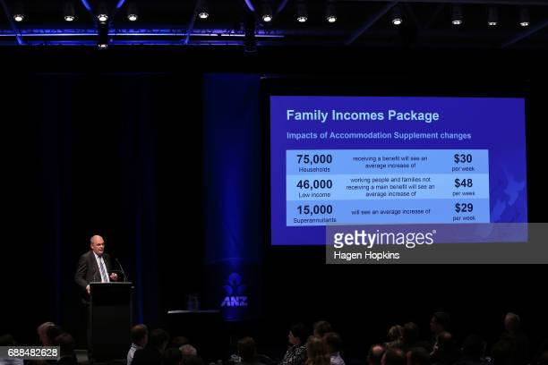 Finance Minister Steven Joyce delivers his post budget address at Te Papa Museum on May 26 2017 in Wellington New Zealand Joyce delivered his first...