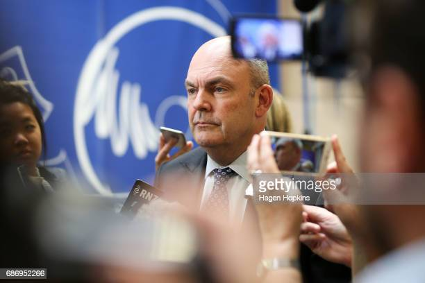 Finance Minister Steven Joyce speaks to media during the printing of the budget at Printlink on May 23 2017 in Wellington New Zealand Joyce will...
