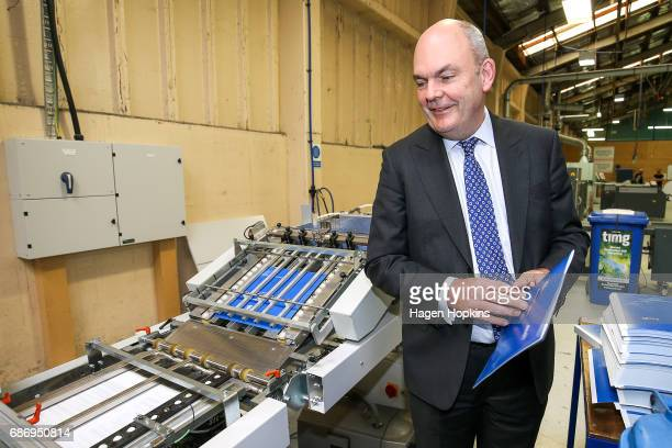 Finance Minister Steven Joyce watches the printing of the budget at Printlink on May 23 2017 in Wellington New Zealand Joyce will deliver his first...