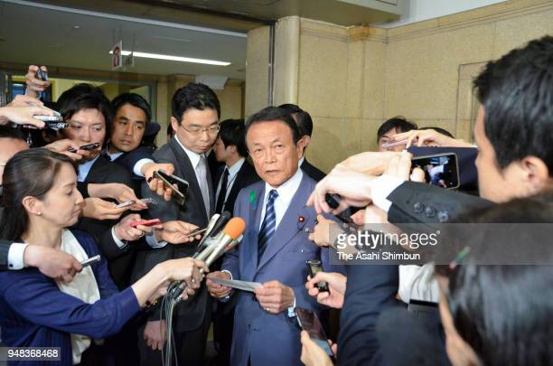 Finance Minister Taro Aso announced that Junichi Fukuda the top bureaucrat at the Finance Ministry resigned on April 18 2018 in Tokyo Japan Fukuda...