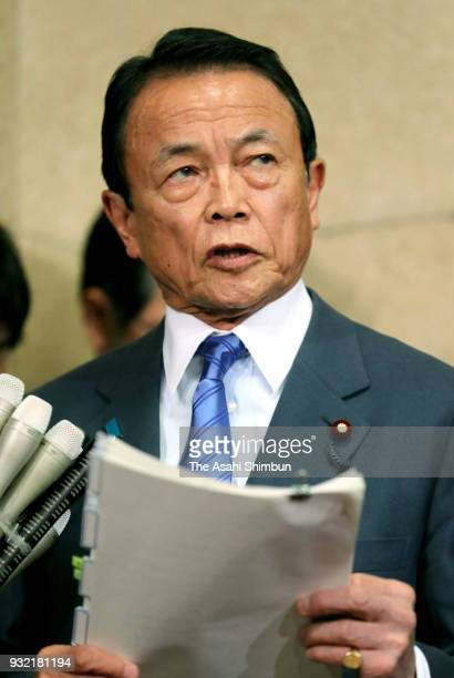 Finance Minister Taro Aso responds to questions about altered documents at the ministry on March 12 2018 in Tokyo Japan The Finance Ministry admitted...