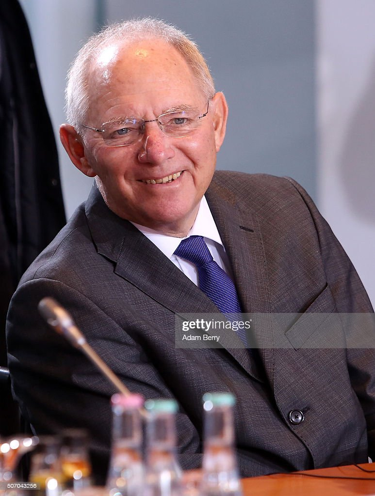 Finance Minister Wolfgang Schaeuble (CDU) arrives for the weekly German federal Cabinet meeting on January 27, 2016 in Berlin, Germany. High on the meeting's agenda was discussion of the country's annual business report.
