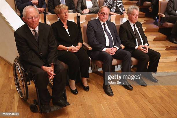 Finance Minister Wolfgang Schaeuble attends a memorial service for late former German President Walter Scheel at the Philharmonic on September 7 2016...
