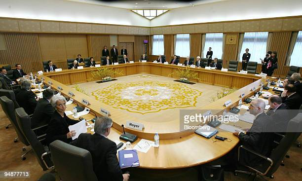 G7 finance ministers and central bank governors are seated at a table prior to the start of their meeting in Tokyo Japan on Saturday Feb 9 2008...