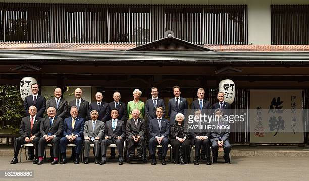 Finance ministers and central bankers from the G7 grouping pose during a photo session of the G7 Finance Ministers and Central Bank Governors'...