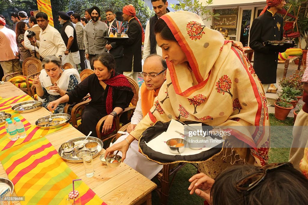 Finance Minster Arun Jaitely and Union Minister Harsimrat Kaur Badal during a lunch party for the political and media fraternity hosted by Union...