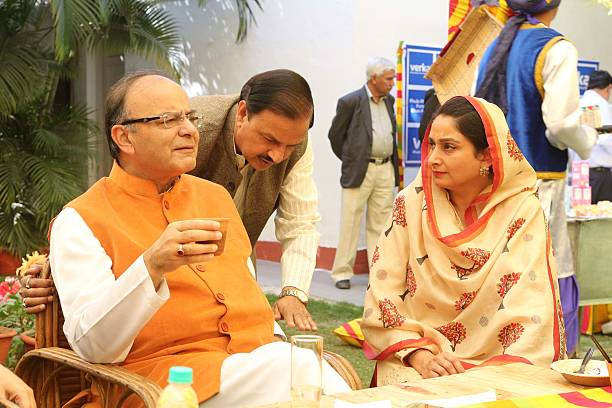 Finance Minster Arun Jaitely Minister of State for Civil Aviation Mahesh Sharma and Union Minister Harsimrat Kaur Badal during a lunch party for the..