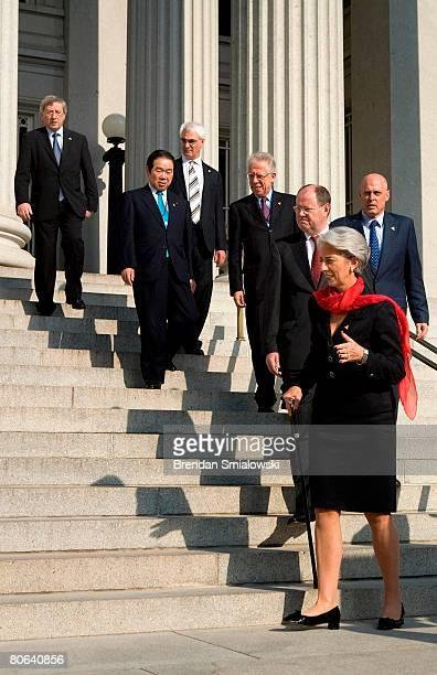 G7 finance minsters JeanClaude Juncker of the Eurogroup Fukushiro Nukaga of Japan Alistair Darling of the United Kingdom Tommaso PadoaSchioppa of...