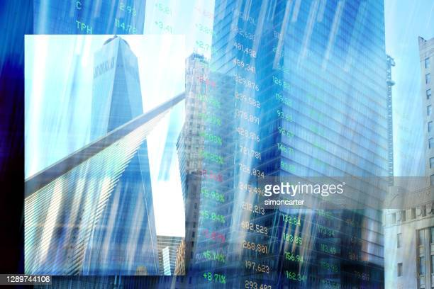 finance. new york buildings and trading screen data. - manhattan new york city stock pictures, royalty-free photos & images