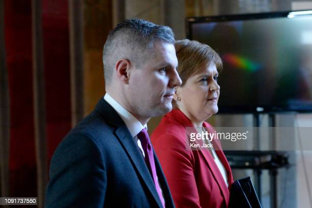 Finance Secretary Derek Mackay accompanied by First Minister Nicola Sturgeon on the way to First Minister's Questions in the Scottish Parliament as...