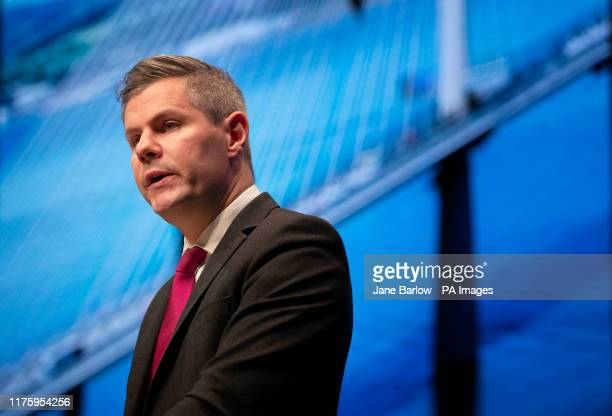 Finance Secretary Derek Mackay addresses delegates during the 2019 SNP autumn conference at the Event Complex in Aberdeen
