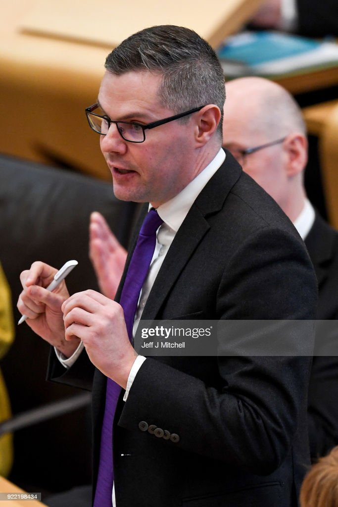 Finance secretary Derek Mackay addresses the Scottish Parliament during final stage of Scottish Budget on February 21, 2018 in Edinburgh, Scotland. The final debate on the Budget Bill took place ahead of the crucial vote at decision time later today.