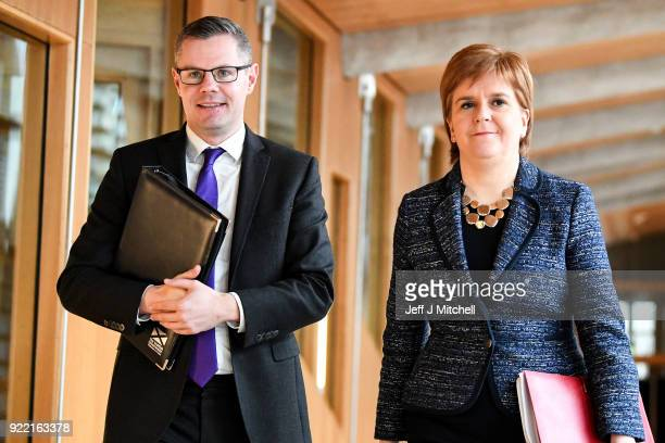 Finance secretary Derek Mackay and First Minister of Scotland Nicola Sturgeon arrive at the Scottish Parliament during final stage of Scottish Budget...