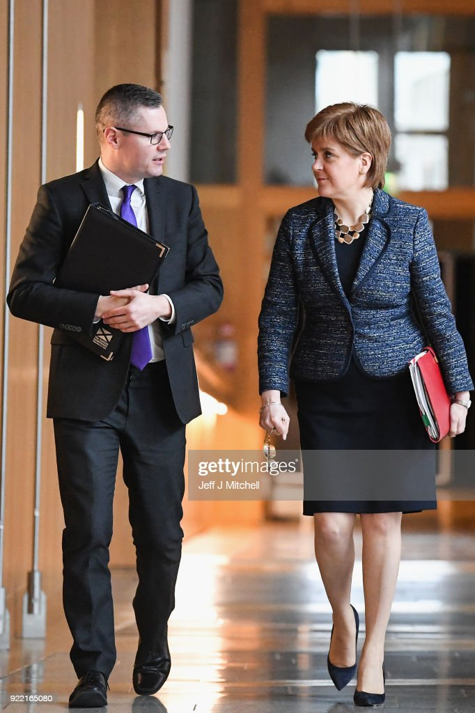 Finance secretary Derek Mackay and First Minister of Scotland Nicola Sturgeon arrive at the Scottish Parliament during final stage of Scottish Budget on February 21, 2018 in Edinburgh, Scotland. The final debate on the Budget Bill took place ahead of the crucial vote at decision time later today.