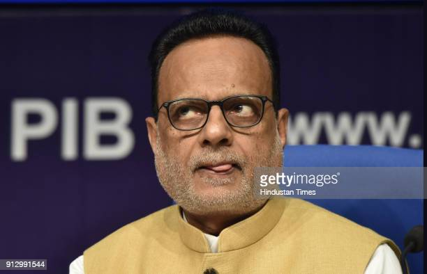 Finance Secretary Hasmukh Adhiya during the post budget press conference at National Media Center on February 1 2018 in New Delhi India Agriculture...