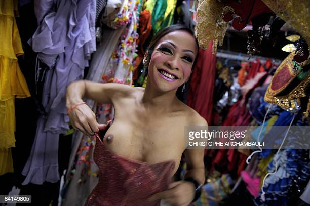STORY FinanceeconomyThailandproteststourismFEATURE by Jacqueline PIETSCH In this picture taken on December 11 2008 Thai ladyboys get ready for a...
