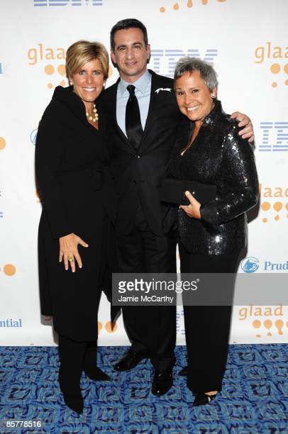 Financial advisor Suze Orman GLAAD President Neil G Giuliano and Kathy Travis attend the 20th Annual GLAAD Media Awards at Marriott Marquis on March...