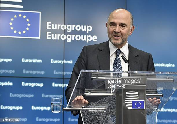 Financial Affairs Taxation and Customs Commissioner Pierre Moscovici gives a joint press conference with Dutch Finance Minister and Eurogroup...