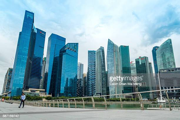 Financial buildings and skyline at Marina Bay - Singapore