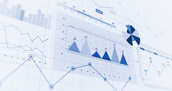 Financial Business Charts, Graphs And Diagrams. 3D Illustration Render 1144573725