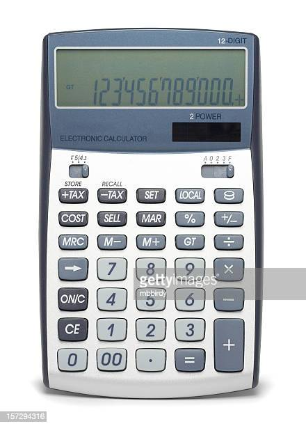 Financial calculator (clipping path), isolated on white background