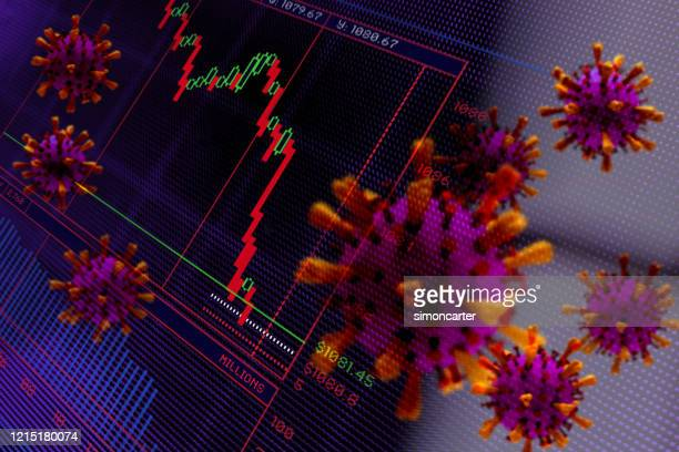 financial crash. trading screen and corona virus. abstract image. - economy stock pictures, royalty-free photos & images