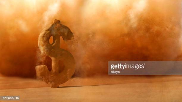 financial crisis , sandstorm dollar sign dissolve - collapsing stock pictures, royalty-free photos & images