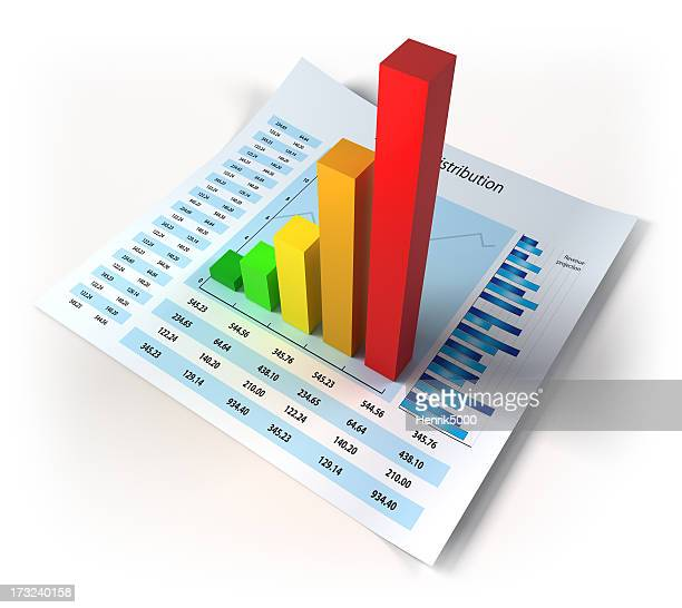 Datos financieros con diagrama 3d aislado/clipping path (Borde de corte)