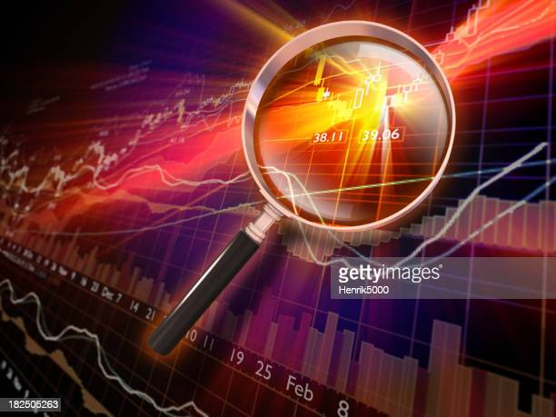 Financial Data with Magnifying Glass