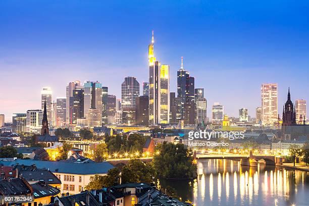 Financial district at night, Frankfurt, Germany