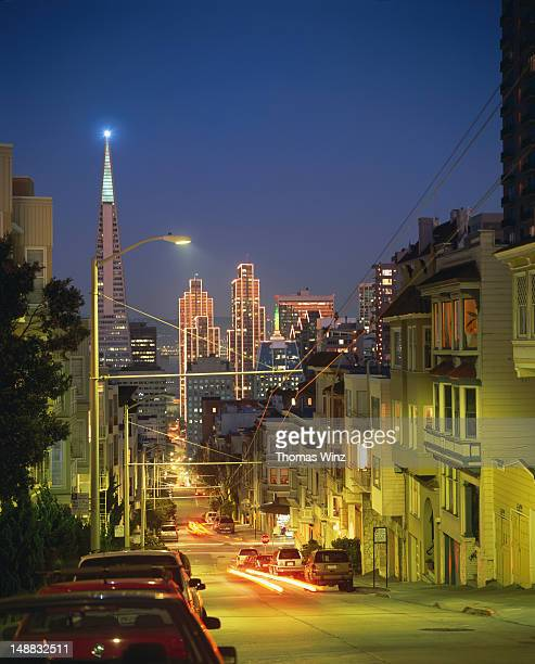 Financial district at night, view from 'Nob Hill'.