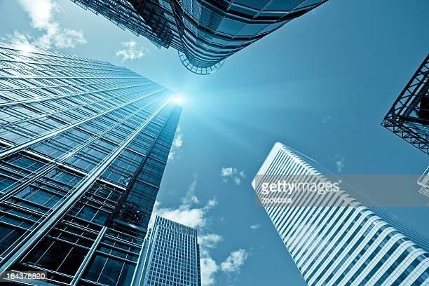 financial district, canary wharf in london - canary wharf stock photos and pictures