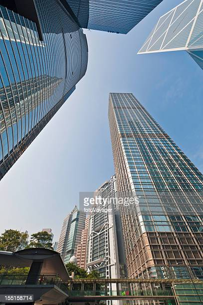 financial district downtown skyscrapers hong kong - i.m. pei stock photos and pictures