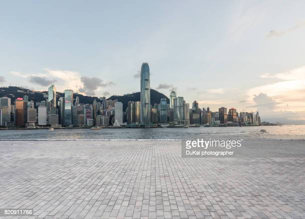financial district hong kong - paving stone stock pictures, royalty-free photos & images