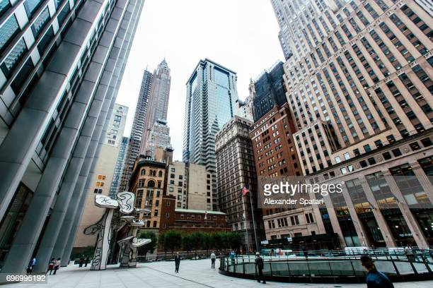 financial district in downtown manhattan, new york city, usa - ウォール街 ストックフォトと画像