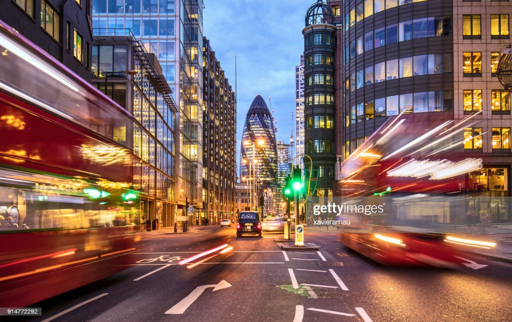 Financial district in London at dusk : Stock Photo