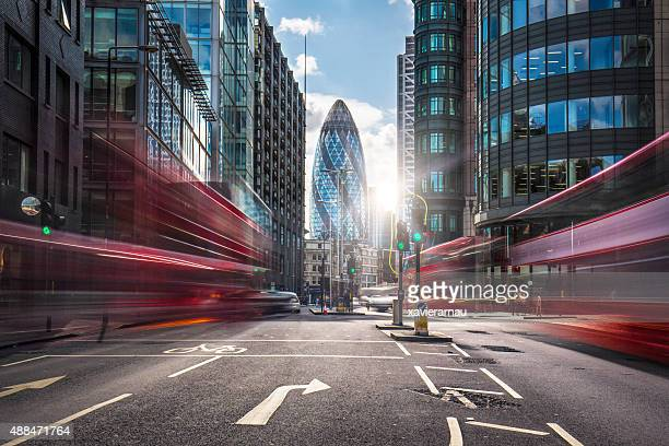 financial district of london - motion blur stock photos and pictures