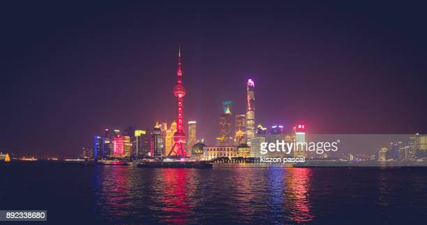 financial district of Shanghai with chinese new year colors at night , China , Asia