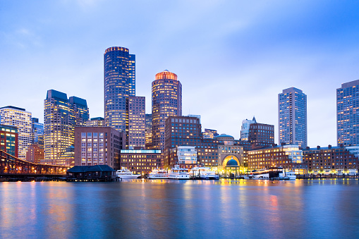 Financial District Skyline and Harbour at Dusk in Boston 922518160