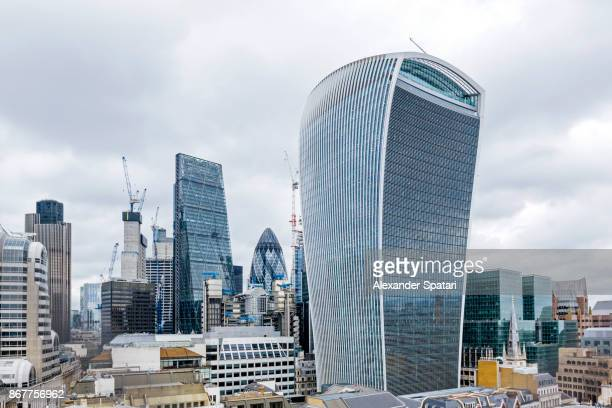 Financial district skyline, high angle view, London, United Kingdom
